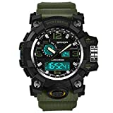 Unisex Luxury Sport Watch Double Display Cold Light Electronic Waterproof (Army Green)
