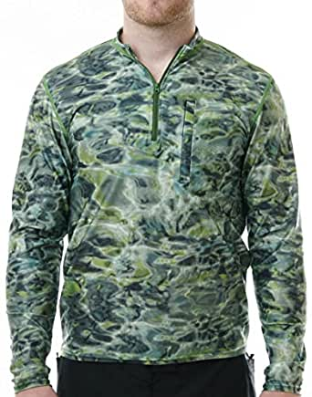 Aqua Design Men's Spear Fishing 1/4 Zip High Collar Long Sleeve Rash Guard Shirt, Green Bayou, S