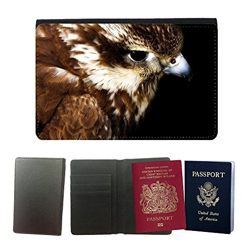 Hawks Tickets - Just Phone Cases Flip PU Leather Travel Passport Wallet Case with Flight Ticket Slots // M00127699 Hawk Head Young Eye Gliding Fly // Universal Passport Leather Cover