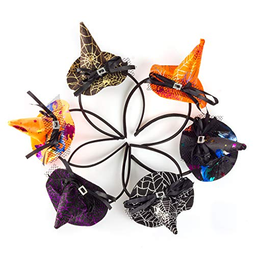 6pcs Children Halloween Headwear Mini Pointy Witch Hat Cute Hair Hoop Hairband Spider Party Carnival Headbands Props
