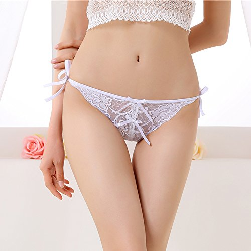 Diamondo Sexy Women Lace V-string Briefs Panties G-string Underwear Hot (White)