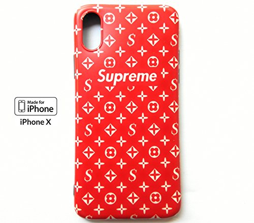 High Fashion Monogram x Streetwear Fashion - iPhone X/10 Soft Protective Durable Case/Cover Handcrafted by Silicone Materials Anti-Scratch Shock Proof Drop Protection. (Shiny Red) ()