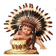 N04- For 9 to 18 month Toddler / Baby: three colors Brown Native American Style Indian Headdress for the little ones !
