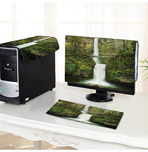 Leighhome Computer Monitor Dust Cover 3 Pieces Falls of Rivendell Multnomah Waterfall Oreg with Hobbit Elf Path Bridge Antistatic, Water Resistant (Rivendell 3 Light)