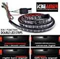 "ICBEAMER 5-Function 60"" 2 Row LED Truck Tailgate Side Bed Light Strip Bar Waterproof Reverse Turn Signal, Parking, Brake"