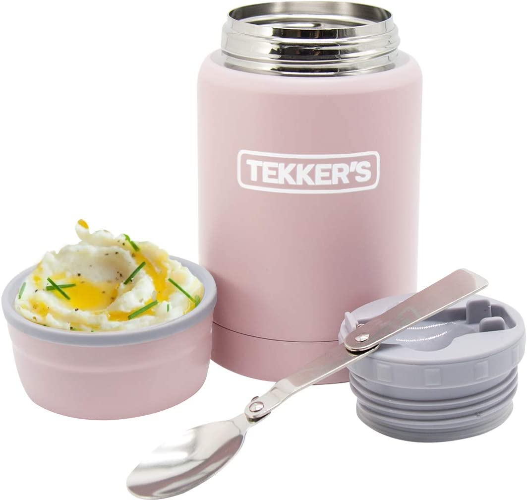 Food Jar Insulated TEKKER'S 17 Oz Thermoses Stainless Steel Lunch Vacuum Bottle with Folding Spoon for School Office Picnic Travel Outdoors(Pink)
