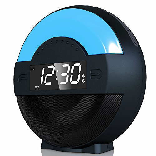 SVINZ Dual Alarm Clock Radio with Bluetooth Speaker and USB Charging Port for Bedrooms, LED Bedside Clock with Ambient Night Light for Kids, Loud Alarm for Heavy Sleepers, Digital FM, Battery Backup