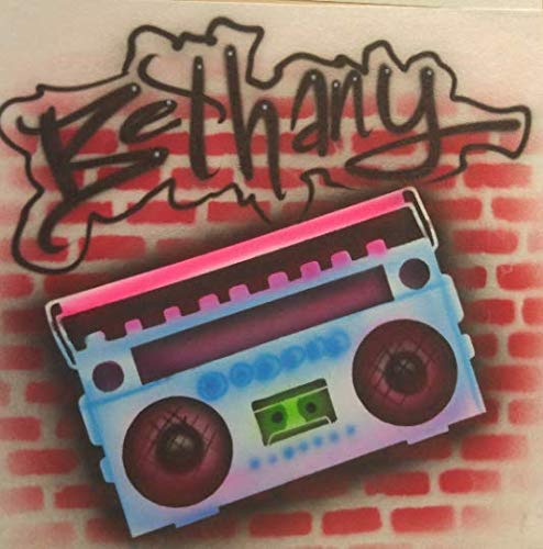 Airbrush 90's Birthday Theme Boombox Brick Wall Graffiti - Youth/Adult T-Shirt - Personalized with Name ()
