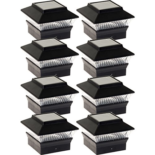 GreenLighting 8 Pack Solar Power Square Outdoor Post Cap Lights for 4x4 PVC Posts (Black)