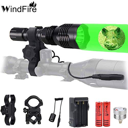 WINDFIRE Green Red Hunting Light Kit 250 Yards Tactical Hunting Flashlight Coyote Hog Light Lamp Torch with Remote Pressure Switch, Barrel Mount, Scope Mount,Rechargeable Batteries