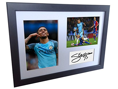 Manchester City Photo - A4 12x8 Gabriel Jesus Signed Manchester City - Autographed Soccer Photo Photograph Picture Frame Poster