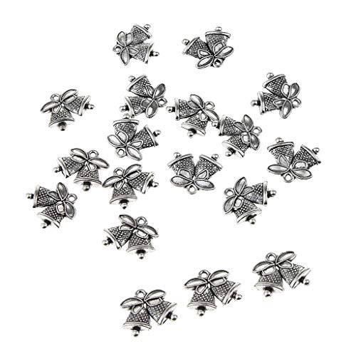 Prettyia 20 Pieces Stainless Steel Pendant Charms Beads Findings Supply Crafts Jingle Bell Snowflake Xmas Ornaments - Jingle Bell ()