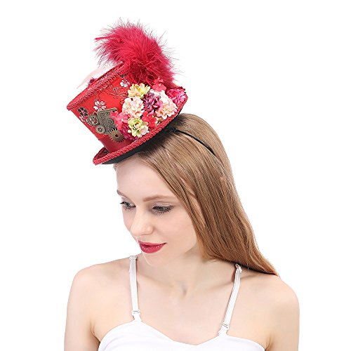 , Antique Red and Ivory Tea Cup Hat, Alice in Wonderland, Mad Hatter Hat, Tea Hat,Mad Hatter Tea Party (Color : Red, Size : 25-30cm) ()