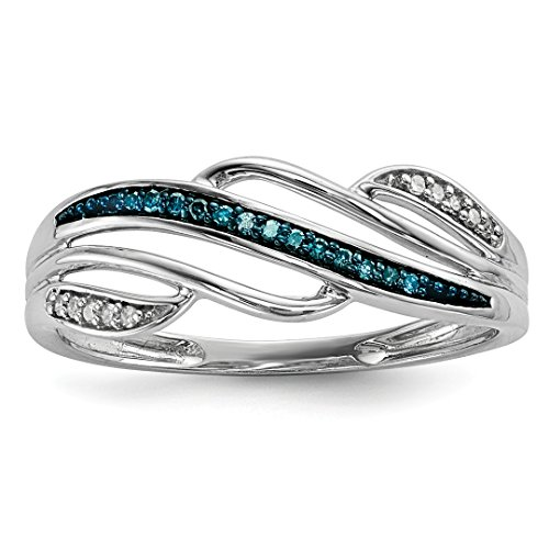 ICE CARATS 925 Sterling Silver Blue White Diamond Band Ring Size 7.00 Fine Jewelry Gift Set For Women Heart by ICE CARATS
