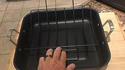 Renewed Black Calphalon 2029653 Premier Hard-Anodized Nonstick 16-Inch Roaster with Rack