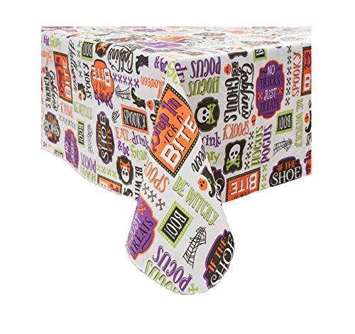 Halloween Vinyl Tablecloth (52 in. x 90 in.) Eco Friendly / PVC Free (Vinyl Halloween Tablecloth)