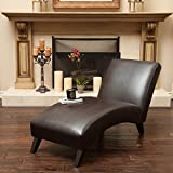 Metro Shop Christopher Knight Home Finlay Leather Chaise Lounge-Finlay Brown Chaise Lounge