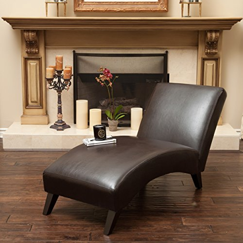 Metro Shop Christopher Knight Home Finlay Leather Chaise Lounge-Finlay Brown Chaise Lounge by Metro Shop