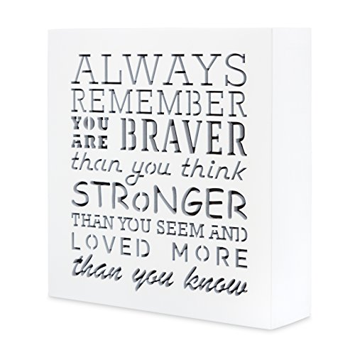 Always Remember You Are Braver Than You Think 5,5 x 5,5in by …- Inspirational gifts,Wood Wall Art & Positive Plaque, Great Gift for Mom, Sister or Grandma on the Mother Day,Birthday & etc.