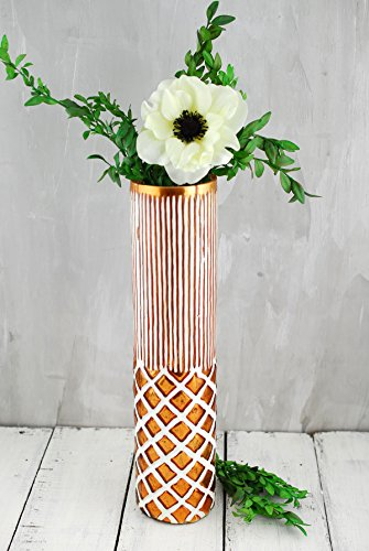 Decorative Ornaments Decor for Home Wedding Party, Boho Copper & White Ceramic Vase 3in. x 13.5in.