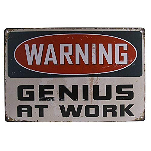 Waring Genius At 金属板ブリキ看板注意サイン情報サイン金属安全サイン警告サイン表示パネル