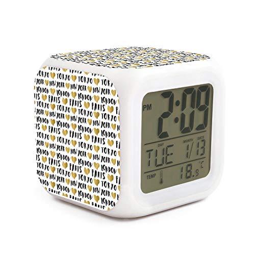 New York Jets Desk Clock - JWOJJUAW Wake Up City Names New York Dimmer Snooze LED Nightlight Bedroom Desk Travel Digital Alarm Clock for Kids Girls