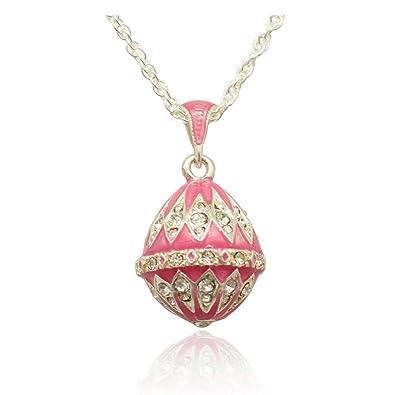 80f3f18ed7 Pendentif Oeuf Style Fabergé Trés Lumineux Rose Plaqué Argent Nombreux  Cristaux et sa Chaîne Plaquée Argent