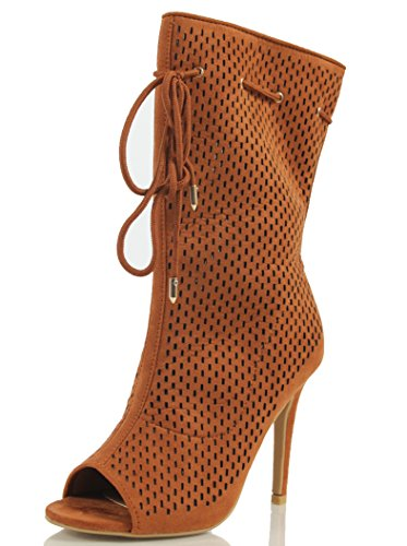 MAH Women's Peep Toe Perforate Lace Tie Mid Calf High Heel Boot