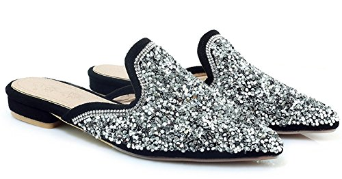Aisun Women's New Slip On Glitter Mule Sandals Silver bxQ9mbNaGz
