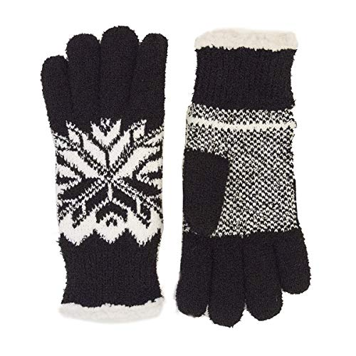 Isotoner Womens Casual Knit Snowflake Fleece Lined Glove, One Size Fits Most