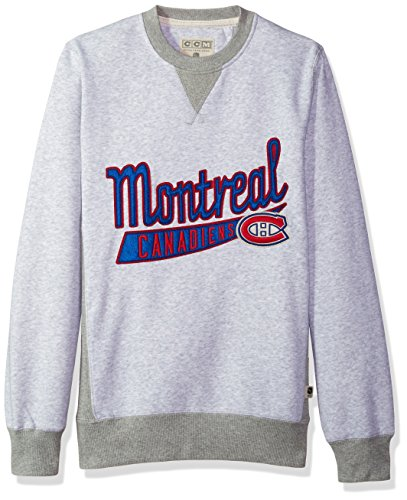 (NHL Montreal Canadiens CCM Finished Crew Fleece, Light Grey Heathered, Small)