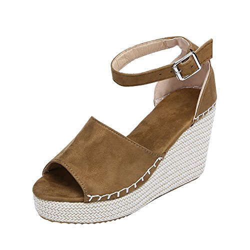 Corriee Womens Girls Summer Fashion High-Heeled Sandals Women Stylish Buckle Strap Wedges Shoes Brown