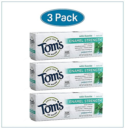 Extra Strength Toothpaste - Toms of Maine Enamel Strength Toothpaste with Fluoride, Peppermint - 4 oz (pack of 3)