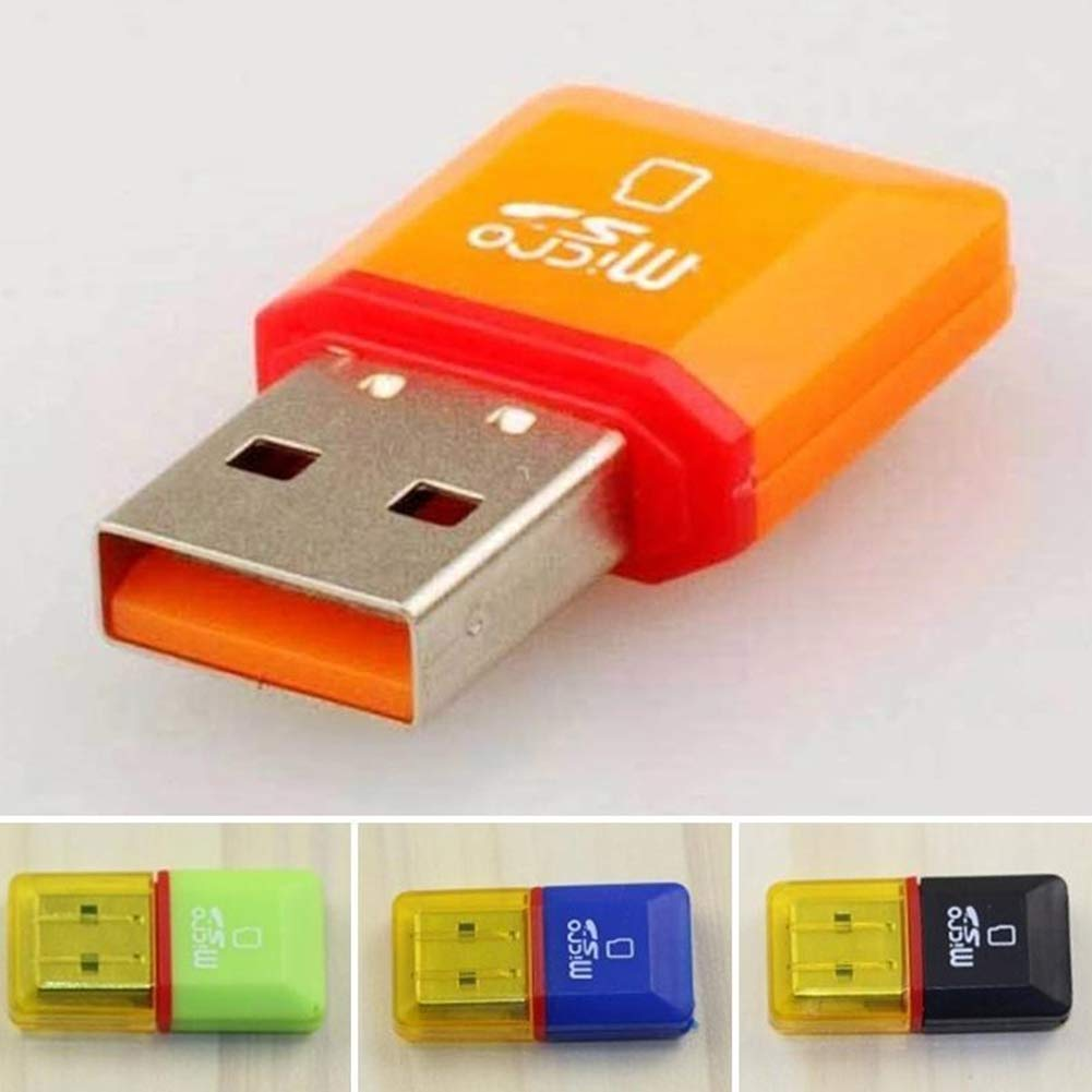 Dandeliondeme USB 2.0 Card Reader 2 Pcs USB 2.0 Mini Micro SD TF Card Reader Adapter Memory T-Flash Card Reader for Windows XP//98//2000//98SE//Vista MacOSX9.0 Random Color