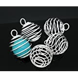 PEPPERLONELY Brand 20PC Silver Plated Spiral Bead Cage Charms Pendants (Holds 18mm - 22mm Beads)