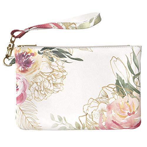 Lex Altern Makeup Bag 9.5 x 6 inch Floral Watercolor Roses Leaves Pink Floral Girly Accessory Design Print Purse Pouch Cosmetic Travel Case Toiletry Women Zipper Organizer Bathroom Storage Wristband