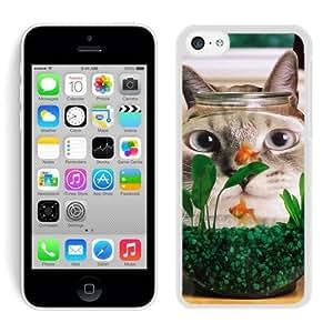 Funny Cat Fish Tank White iPhone 5C Phone Case Genuine Custom Cover