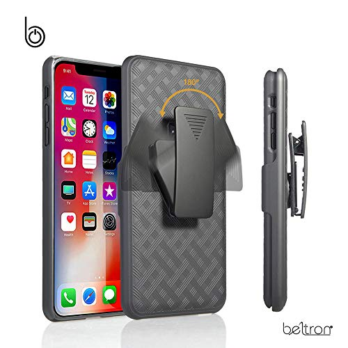 iPhone Xs MAX Case Holster, Slim Protective Belt Clip Slider Case (Shell/Holster Combo) with Built-in Kickstand