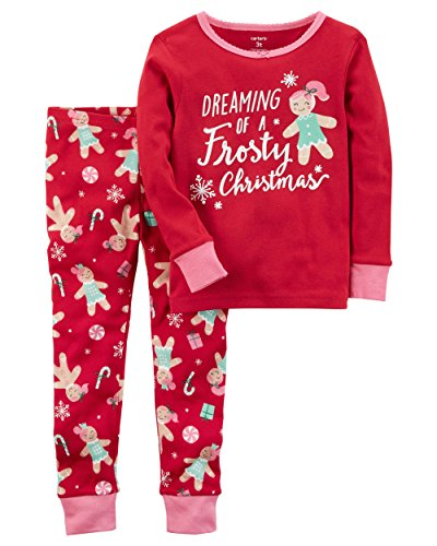 Carter's Girls' 12M-12 2 Piece Frosty Christmas Pajamas Red 5