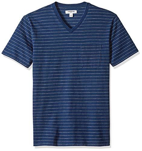 Goodthreads Men's Short-Sleeve Indigo V-Neck Pocket T-Shirt, Dark Narrow Stripe, Medium