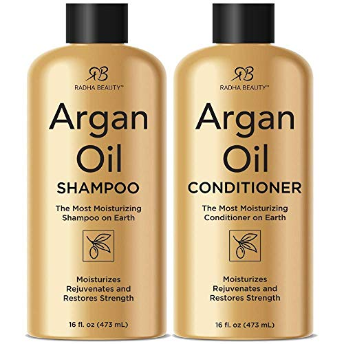 Radha Beauty Argan Oil Shampoo & Conditioner Set, 16 fl oz. for Daily Use, Moisture, and Hair Restoration - Sulfate...
