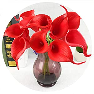 20pcs/lot Decorative Flowers Artificial Flower Real Touch Home Decoration Party Wedding Bouquet Flowers,Red 30