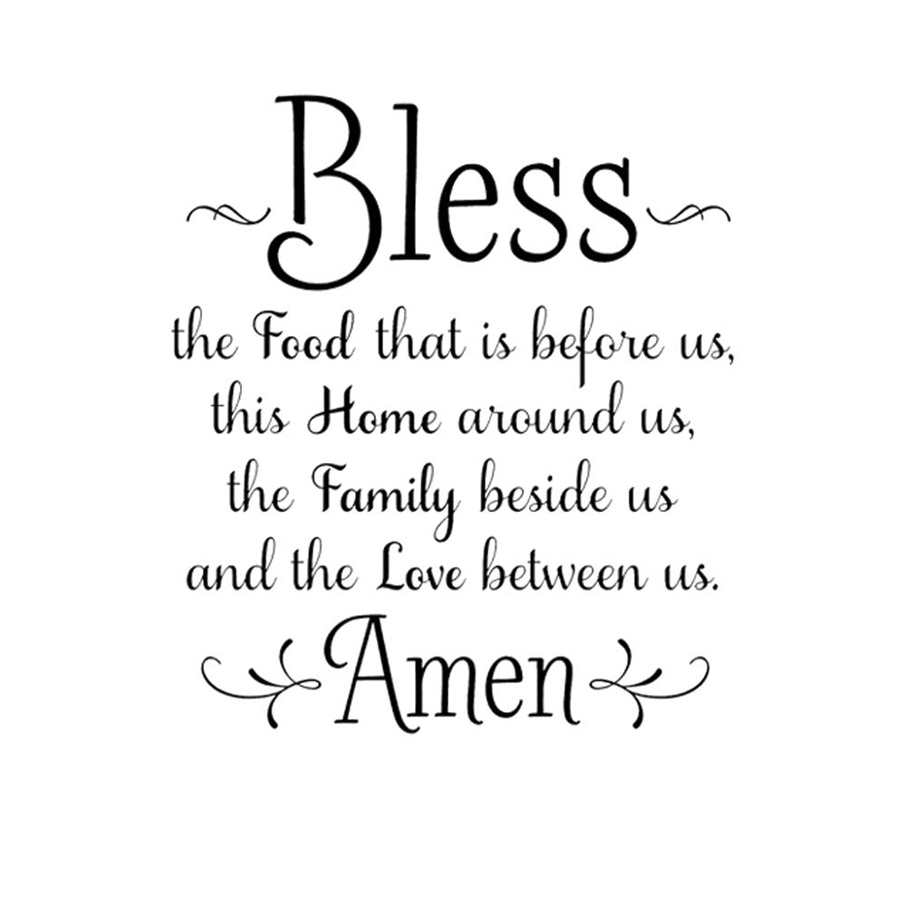 Wall Decal Stickers Bless The Food Before Us, The Family Beside Us, and The Love Between Us, Amen with Removable Vinyl Art Decoration for Kitchen Wall Stickers Decor, Dining