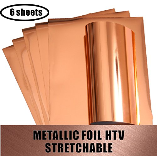 Heat Transfer Vinyl HTV Stretchable Metallic ROSE GOLD Foil for Apparel T-shirt and Hoodie 12