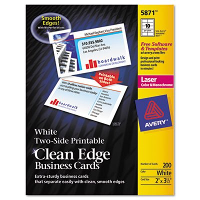 Two-Side Printable Clean Edge Business Cards, Laser, 2 x 3 1/2, White, 1000/Box, Sold as 1000 Each by Avery