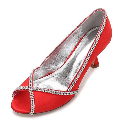 L@YC Women's Wedding Shoes E17061-14 Sandals Low Heel Peep Toe Satin Heel Diamond Stitching Lace Red xmL39t