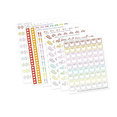 306 Fitness Planner Sticker Bundle - 6 sheets of Planner Stickers ()