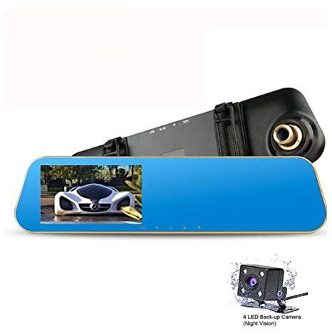 Amazon Com 4 3 Fhd 1080p Dual Lens Car Camera Dash Cam Dvr