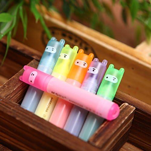 haodou 6/Pcs couleurs assorties Mini Ninja surligneur Lovely fluorescents et stylet comme cadeau danniversaire pour les enfants Event cadeaux