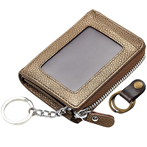 kilofly Genuine Leather Card Slot ID Holder Wallet + Keychain Cable Organizer